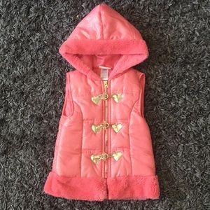 💕 3/$10 Little Lass Pink Gold Puffer Vest Size 6